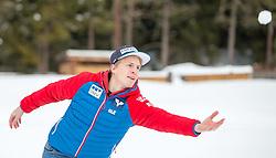 02.01.2015, for Friends, Mösern, AUT, FIS Ski Sprung Weltcup, 63. Vierschanzentournee, OeSV Pressekonferenz, im Bild Michael Hayböck (AUT) bei einer Schneeballschlacht // Michael Hayböck of Austria on a snowball fight before Pressconference of Austrian Team of the 63rd Four Hills Tournament of FIS Ski Jumping World Cup at the for Friends Hotel, Mösern, Austria on 2015/01/02. EXPA Pictures © 2015, PhotoCredit: EXPA/ JFK