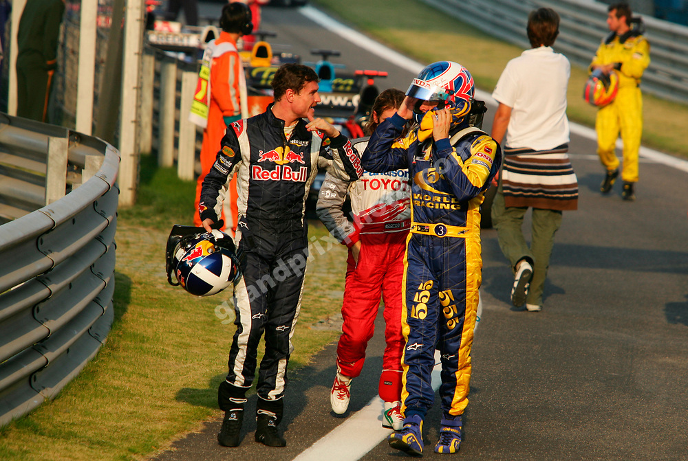 David Coulthard (Red Bull-Cosworth), Jarno Trulli (Toyota) and Jenson Button (BAR-Honda) after the 2005 Chinese Grand Prix in Shanghai. Photo: Grand Prix Photo.