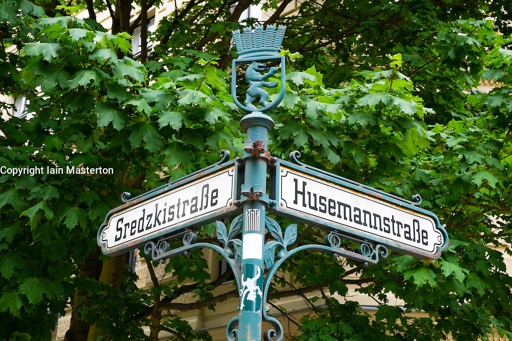 Old street signs in bohemian Prenzlauer Berg district of Berlin Germany