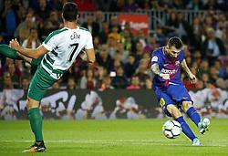 September 19, 2017 - Barcelona, Spain - Leo Messi scores the 2-0 during La Liga match between FC Barcelona v SC Eibar , in Barcelona, on September 19, 2017. (Credit Image: © Joan Valls/NurPhoto via ZUMA Press)