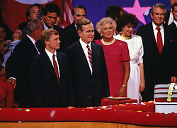 United States Vice President George H.W. Bush on the podium of the Republican National Convention in New Orleans, Louisiana following his speech accepting the Republican Party nomination for President of the United States. on August 18, 1988. Pictured from left to right: US Senator Dan Quayle (Republican of Indiana), the GOP nominee for Vice President of the United States; Vice President Bush; Barbara Bush; former US Secretary of Transportation Elizabeth Dole; and the Reverend Pat Robertson.Credit: Arnie Sachs / CNP /ABACAPRESS.COM
