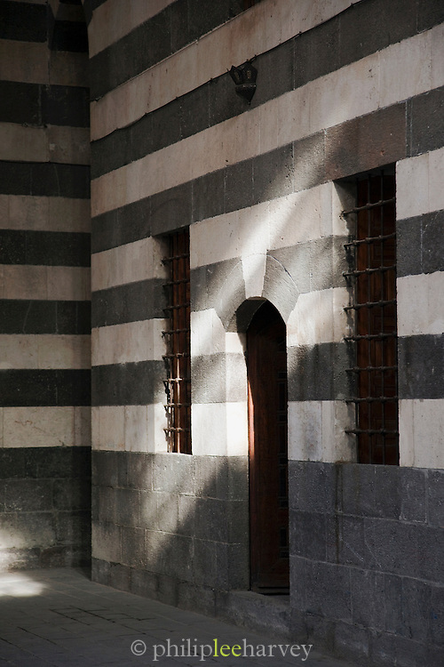 A doorway in the Khan As'ad Pasha, a caravanserai in the Old City in Damascus, Syria