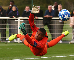 October 3, 2018 - London, England, United Kingdom - Enfield, UK. 03 October, 2018.L-R Abel Ruiz of FC Barcelona and Brandon Austin of Tottenham Hotspur.during UEFA Youth League match between Tottenham Hotspur and FC Barcelona at Hotspur Way, Enfield. (Credit Image: © Action Foto Sport/NurPhoto/ZUMA Press)