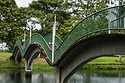 Arching footbridges cross Waiakea Pond, a brackish lagoon in Wailoa River State Recreation Area, in Hilo, on the Big Island, Hawaii, USA.