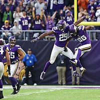 MINNEAPOLIS, MN - NOVEMBER 20: Xavier Rhodes #29 of the Minnesota Vikings celebrates his second interception of the game with teammate Trae Waynes #26 in the third quarter against the Arizona Cardinals on November 20, 2016 at US Bank Stadium in Minneapolis, Minnesota. (Photo by Adam Bettcher/Getty Images)