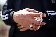 Detail of a muslim man's hand in the city of Crnik in Macedonia.