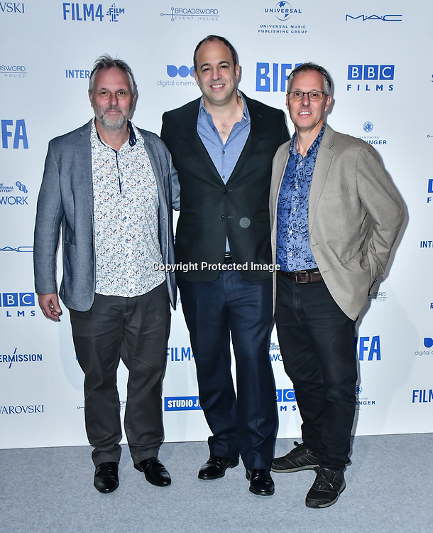 Marcus Lewis, Simon Chinn and Alex Lewis attends the 22nd British Independent Film Awards at Old Billingsgate on December 01, 2019 in London, England.