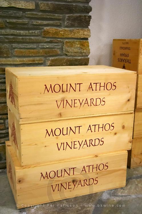 Wooden wine boxes. Tsantali Vineyards & Winery, Halkidiki, Macedonia, Greece.