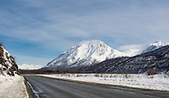 Early spring along  and Matanuska River and the Chugach Mountains  in Southcentral Alaska. Afternoon.