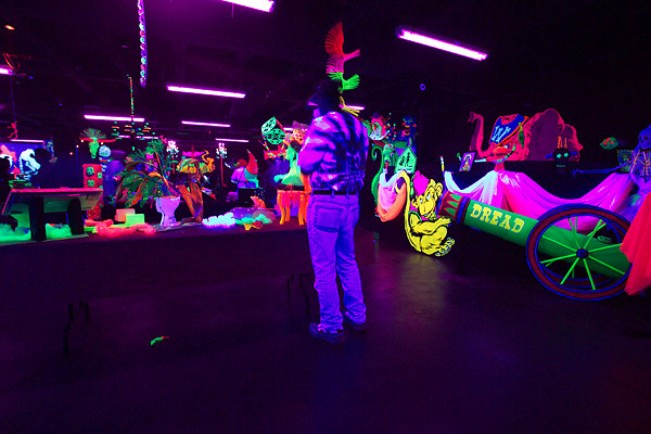 Stock photo of a black light themed area