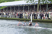 Henley on Thames, United kingdom,   Women's Quadruple Sculls<br /> Hereford RC & Worcester RC,  move through the Stewards Enclousure at the Annual 2002 Henley Royal Regatta, Henley Reach, River Thames, England, [Mandatory Credit: Peter Spurrier/Intersport Images] 20020703 Henley Royal Regatta, Henley, Great Britain