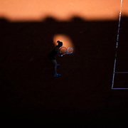 PARIS, FRANCE June 10. Maria Sakkari of Greece prepares to receive against Barbora Krejcikova of the Czech Republic as the early evening shadows creep across Court Philippe-Chatrier during the semi finals of the singles competition at the 2021 French Open Tennis Tournament at Roland Garros on June 10th 2021 in Paris, France. (Photo by Tim Clayton/Corbis via Getty Images)