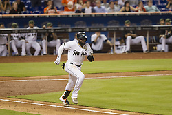 May 29, 2017 - FL, USA - Miami Marlins left fielder Marcell Ozuna grounds into a double play in the bottom of the third inning against the Philadelphia Phillies on Monday, May 29, 2017 at Marlins Park in Miami, Fla. (Credit Image: © Bryan Cereijo/TNS via ZUMA Wire)