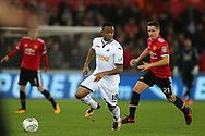 Jordan Ayew of Swansea City is challenged by Ander Herrera of Manchester United (r). EFL Carabao Cup 4th round match, Swansea city v Manchester Utd at the Liberty Stadium in Swansea, South Wales on Tuesday 24th October 2017.<br /> pic by  Andrew Orchard, Andrew Orchard sports photography.