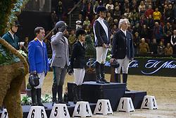 Podium Grand Prix<br /> 1. Luciana Diniz (POR)<br /> 2. Roger Yves Bost (FRA)<br /> 3; Edwin a Alexander (AUS)<br /> 4 Gaudiano Emanuele (ITA)<br /> 5. Gerco Schroer (NED)<br /> Grand Prix H.Moser & Cie<br /> CSI 5* Basel 2013<br /> © Dirk Caremans