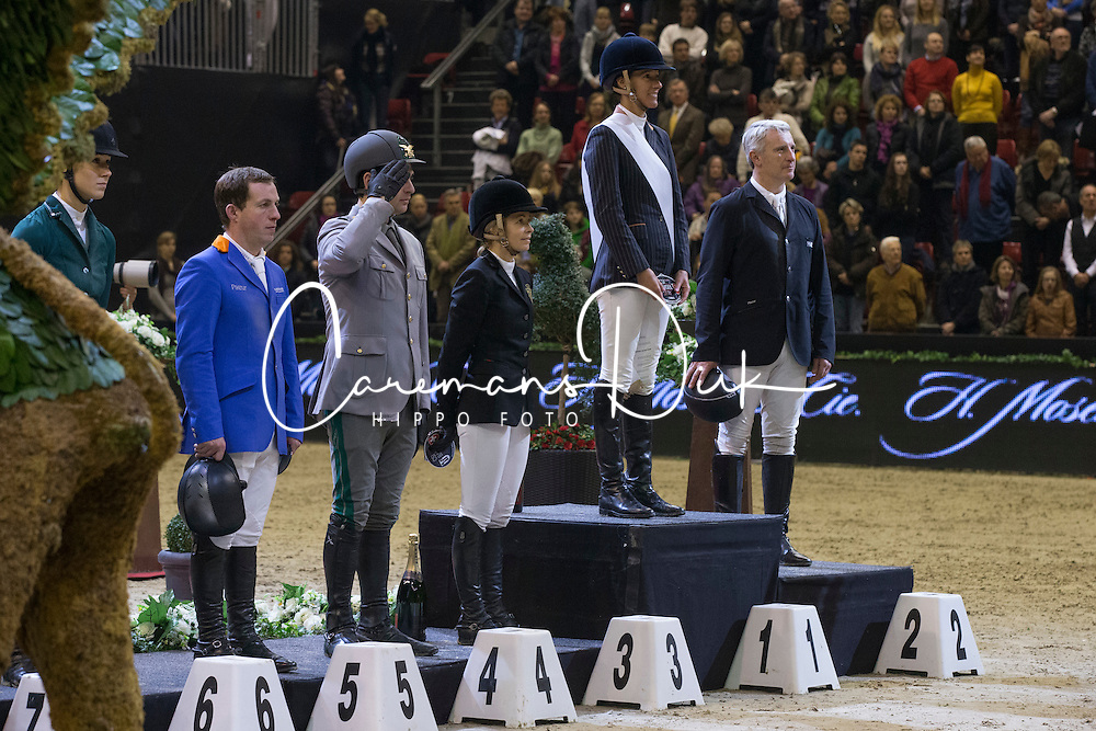 Podium Grand Prix<br /> 1. Luciana Diniz (POR)<br /> 2. Roger Yves Bost (FRA)<br /> 3; Edwin a Alexander (AUS)<br /> 4 Gaudiano Emanuele (ITA)<br /> 5. Gerco Schroer (NED)<br /> Grand Prix H.Moser & Cie<br /> CSI 5* Basel 2013<br /> © Dirk Caremans