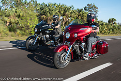 Bagger Magazine's Morgan Gales (l) riding a 2017 Indian Chieftain Limited alongside Motorcycle Racer Carey Hart (r) who is riding a 2017 Indian Chieftain Elite during Daytona Beach Bike Week. FL, USA. Friday March 10, 2017. Photography ©2017 Michael Lichter.