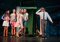 """Leilani McMath / Margot, May Kenny / Serena and Zoe Lehneman / Pilar watch as Chelsea Sasserson / Elle Woods swoons over Warner /Tyler Browne during dress rehearsal for """"Legally Blonde"""" with Gilford Middle School on Monday afternoon.  (Karen Bobotas/for the Laconia Daily Sun)"""