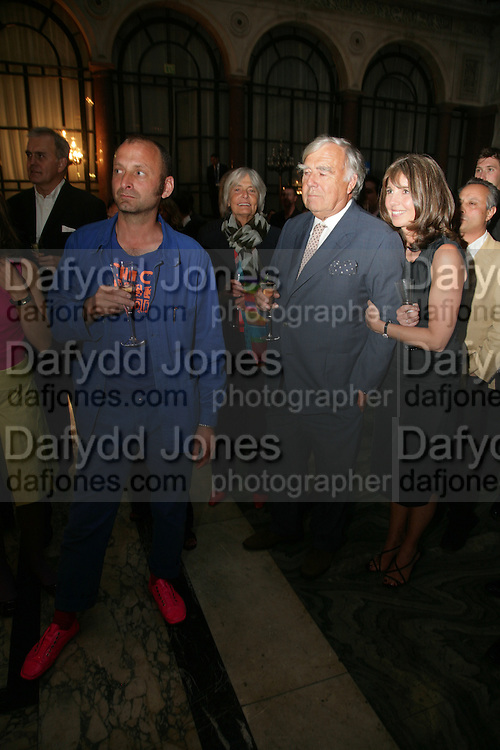 Ab Rogers, Sarah Miller and her father John Miller. 10th Anniversary of Conde Nast Traveller magazine. Foreign and Comonwealth Office. Durbar Court. 10 September 2007. -DO NOT ARCHIVE-© Copyright Photograph by Dafydd Jones. 248 Clapham Rd. London SW9 0PZ. Tel 0207 820 0771. www.dafjones.com.