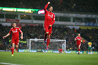 LUIZ SUAREZ CELEBRATES HIS SPECTACULAR THIRD GOAL<br />