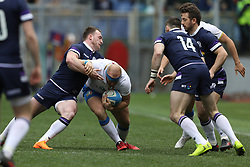 March 17, 2018 - Rome, RM, Italy - Leonardo Ghiraldini of Italy fight for the ball during the Six Nations 2018 match between Italy and Scotland at Olympic Stadium on March 17, 2018 in Rome, Italy. (Credit Image: © Danilo Di Giovanni/NurPhoto via ZUMA Press)