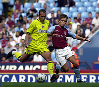 Photo: Greig Cowie.<br /> 20/09/2003.<br /> Barclaycard Premiership. Aston Villa v Charlton Athletic.<br /> Paolo Di Canio opens his shoulders for a shot on goal
