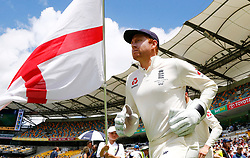 England's Jonny Bairstow runs onto the field during day five of the Ashes Test match at The Gabba, Brisbane.