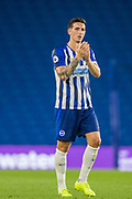 Lewis Dunk (Capt) (Brighton) thanking the supporters following the Pre-Season Friendly match between Brighton and Hove Albion and Valencia CF at the American Express Community Stadium, Brighton and Hove, England on 2 August 2019.