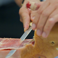 First ever ham slicing competition in Budapest, Hungary on May 9, 2012. ATTILA VOLGYI
