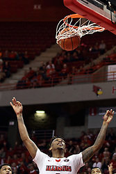 22 December 2015: Roland Griffin(35) lifts his hands and watches as a ball drops through the hoop for three points shot by Justin McCloud. Illinois State Redbirds host the Tennessee State Tigers at Redbird Arena in Normal Illinois (Photo by Alan Look)