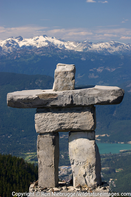 Inukshuk rock statue on Whistler Mountain is the Olympic symbol, Whistler, British Columbia, Canada.