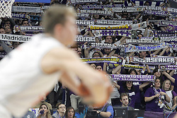 03.12.2015, Palacio de los Deportes, Madrid, ESP, FIBA, EL, Real Madrid vs Fenerbahce Ulker Istanbul, Halbfinale, im Bild Real Madrid's supporters // during thesemifinall Match of the Turkish Airlines Basketball Euroleague between Real Madrid and Fenerbahce Ulker Istanbul at the Palacio de los Deportes in Madrid, Spain on 2015/12/03. EXPA Pictures © 2015, PhotoCredit: EXPA/ Alterphotos/ Acero<br /> <br /> *****ATTENTION - OUT of ESP, SUI*****