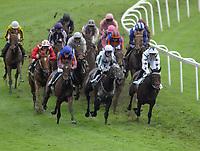 Horse Racing - 2021 Epsom Festival - The  Oaks Friday - Epsom Downs <br /> <br /> Hollie Doyle riding Sherbet Lemon (9) (white cap - centre) leads at  Tattenham corner<br /> Winner, Snowfall (Frankie Dettori) (Purple cap ) sits at the back<br /> <br /> <br /> Credit : COLORSPORT/ANDREW COWIE