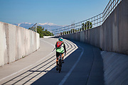 Bike path along the Los Angeles River, City of Paramount, South LA, Califortnia, USA,