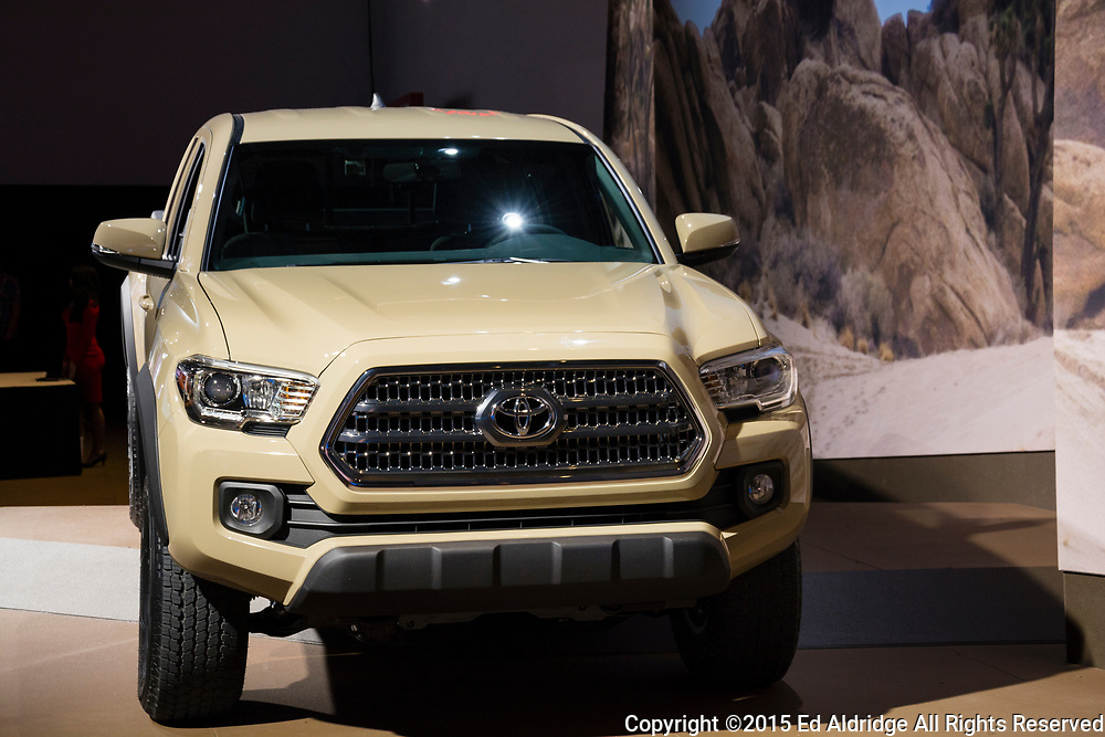 DETROIT, MI, USA - JANUARY 12, 2015: Toyota Tacoma on display during the 2015 Detroit International Auto Show at the COBO Center in downtown Detroit.