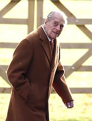 The Duke of Edinburgh arrives to attend the morning church service at St Mary Magdalene Church in Sandringham, Norfolk.