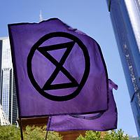Extinction Rebellion flag. Melbourne. Australia.