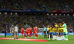 Brazil team group pose for a picture prior to the match