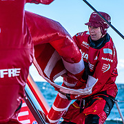 Leg 11, from Gothenburg to The Hague, day 02 on board MAPFRE, Sophie Ciszek during a peeling. 22 June, 2018.