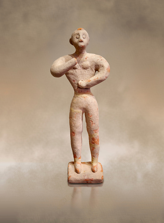 Minoan clay male figurine in the attitude of worship, Chamezi 1900-1700 BC; Heraklion Archaeological  Museum. .<br /> <br /> If you prefer to buy from our ALAMY PHOTO LIBRARY  Collection visit : https://www.alamy.com/portfolio/paul-williams-funkystock/minoan-art-artefacts.html . Type -   Heraklion   - into the LOWER SEARCH WITHIN GALLERY box. Refine search by adding background colour, place, museum etc<br /> <br /> Visit our MINOAN ART PHOTO COLLECTIONS for more photos to download  as wall art prints https://funkystock.photoshelter.com/gallery-collection/Ancient-Minoans-Art-Artefacts-Antiquities-Historic-Places-Pictures-Images-of/C0000ricT2SU_M9w