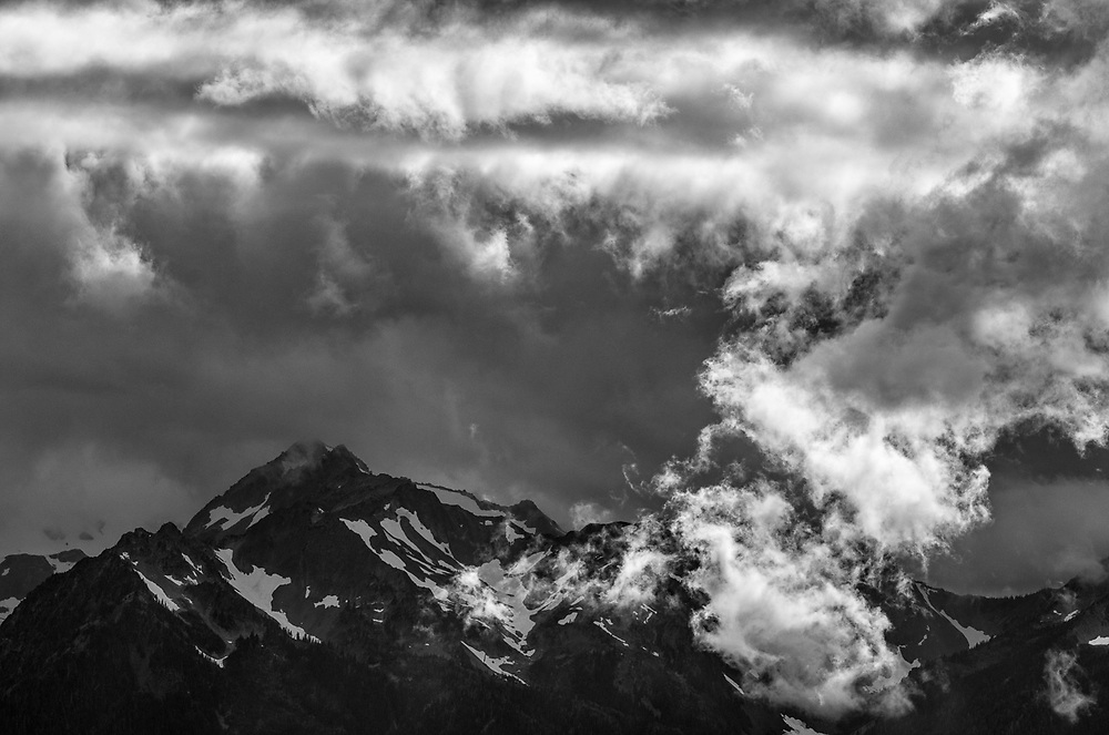 View from Hurricane Ridge, Bailey Range, afternoon clouds, August, Elwha River wastershed, Olympic National Park, Washington, USA