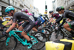 Alice Barnes (GBR) of Drops Cycling Team leans into a corner in the third lap of the Prudential Ride London Classique - a 66 km road race, starting and finishing in London on July 29, 2017, in London, United Kingdom. (Photo by Balint Hamvas/Velofocus.com)