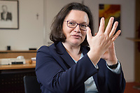 15 MAR 2018, BERLIN/GERMANY:<br /> Andrea Nahles, SPD Fraktionsvorsitzende, waehrend einem Interview, in ihrem Buero, Jakob-Kaiser-Haus, Deutscher Bundestag<br /> IMAGE: 20180315-01-025<br /> KEYWORDS: Büro