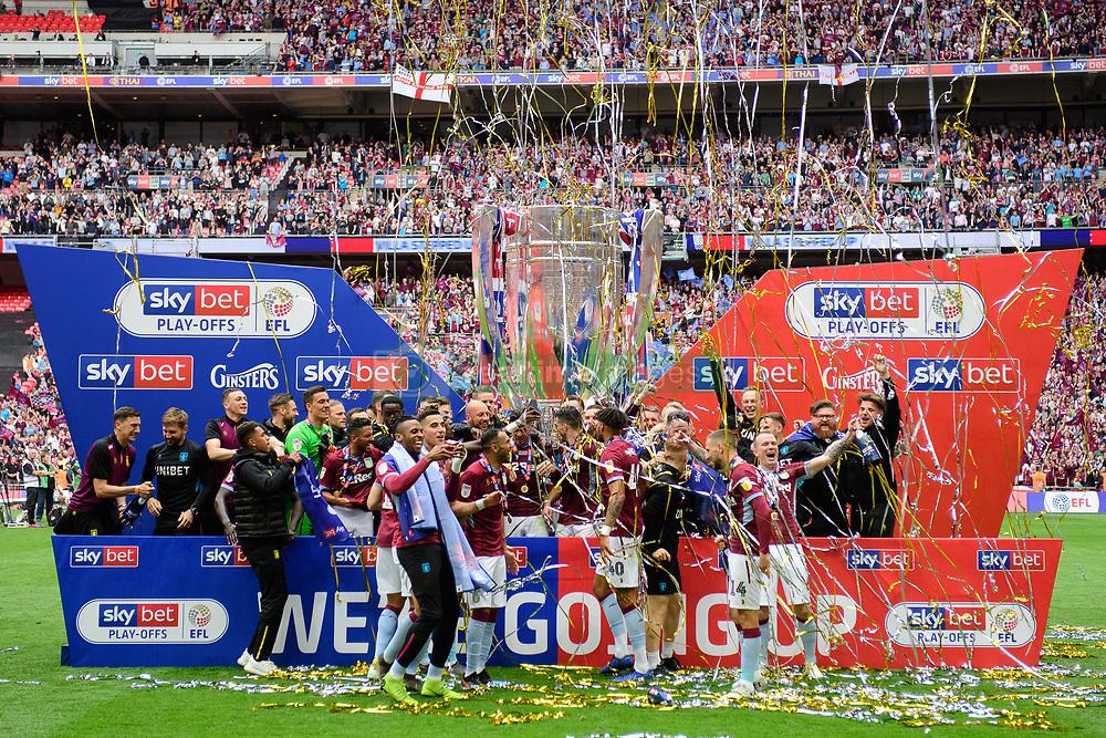 May 27, 2019 - London, England, United Kingdom - Aston Villa celebrate during the Sky Bet Championship match between Aston Villa and Derby County at Wembley Stadium, London on Monday 27th May 2019. (Credit: Jon Hobley   MI News) (Credit Image: © Mi News/NurPhoto via ZUMA Press)