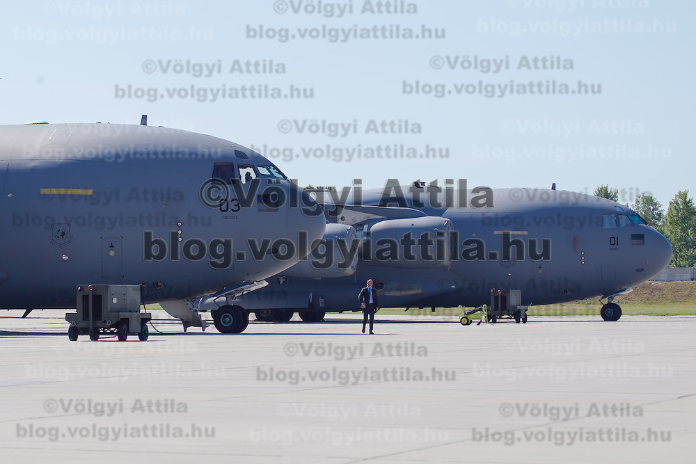 C-17 aircrafts belonging to the NATO Heavy Airlift Wing line up in Papa (about 165 km west of Budapest), Hungary on July 01, 2013. ATTILA VOLGYI