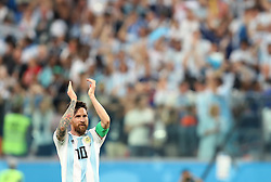 SAINT PETERSBURG, June 26, 2018  Lionel Messi of Argentina celebrates after the 2018 FIFA World Cup Group D match between Nigeria and Argentina in Saint Petersburg, Russia, June 26, 2018. Argentina won 2-1 and advanced to the round of 16. (Credit Image: © Yang Lei/Xinhua via ZUMA Wire)