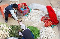 Nepal. Vallee de Kathmandu. Ville Newar de Bhaktapur. Marche. // Nepal. Kathmandu valley. Newar city of Bhaktapur. Market.