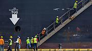The MSC Roma heads up river under Savannah Master Pilot Trey Thompson to the Georgia Ports Authority Port of Savannah, Thursday, Nov. 13, 2014, from Tybee Island to Garden City, Ga.  (GPA Photo/Stephen B. Morton)