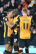 Hull City midfielder Mohammed Diame (17) celebrates scoring his goal with Hull City defender Isaac Hayden (20) and Hull City midfielder Sam Clucas (11) to go 5-0 up  during the Sky Bet Championship match between Hull City and Charlton Athletic at the KC Stadium, Kingston upon Hull, England on 16 January 2016. Photo by Ian Lyall.