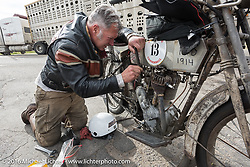Dean Bordigioni of California working on his Class-1 single-cylinder single-speed 1914 Harley-Davidson during the Motorcycle Cannonball Race of the Century. Stage-10 ride from Pueblo, CO to Durango, CO. USA. Tuesday September 20, 2016. Photography ©2016 Michael Lichter.